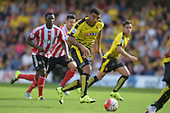 Troy Deeney, the Watford captain in action. Barclays Premier League, Watford v Southampton at Vicarage Road in London on Sunday 23rd August 2015.<br /> pic by John Patrick Fletcher, Andrew Orchard sports photography.