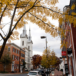 Frederick, Maryland - Church Street in downtown Frederick off Market Street boasts an array of architectural styles for which downtown Frederick is known..Photo by Susana Raab