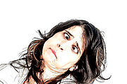 Digitally enhanced image of a female model pulling faces with an induced Crossed eyed look
