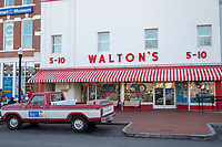 BENTONVILLE, AR - FEBRUARY 15:  Walton's 5-10 visitor center and Sam Walton's pickup truck on the square in downtown Bentonville, Arkansas.<br /> CREDIT Wesley Hitt for The Wall Street Journal<br /> WALMART-Bentonville Scene-setters