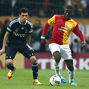 Galatasaray's Emmanuel Eboue (R) Action picture during their Turkish superleague soccer derby match Galatasaray between Besiktas at the TT Arena at Seyrantepe in Istanbul Turkey on Sunday, 26 February 2012. Photo by TURKPIX