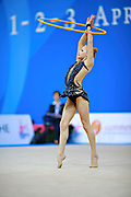 """Berniak Weronika during hoop routine at the International Tournament of rhythmic gymnastics """"Città di Pesaro"""", 01 April, 2016. Weronika is a Polish individualistic gymnast, born onNovember 14, 2002 in Krakow.<br /> This tournament dedicated to the youngest athletes is at the same time of the World Cup"""