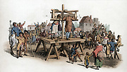 The Pillory. Four men being punished in the pillory jeered at by a crowd. By this date among crimes punishable by pillory were embezzlement of state property, perjury and swindling. Aquatint from WH Pyne 'Costume of England' London 1805.