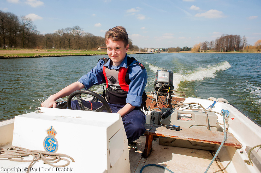 Leading Cadet Jordan Smith on of the  Worksop Sea Cadets and Royal Marines Cadets taking part in a row-a-thon up and down Welbeck Lake, as part of a national fund raising campaign to build a new ship to replace the charity's iconic flagship, TS Royalist now over 40 years old..20 April  2013.Image © Paul David Drabble