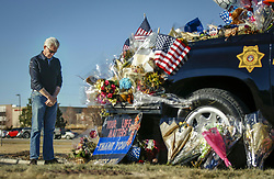 Jan. 2, 2018 - Denver, Colorado - DON BODEMANN of Highlands Ranch mourns for Douglas County Sheriff's Deputy Zackari Parrish, who was shot and killed in the line of duty by a gunman on last Sunday morning, in Highlands Ranch, Colorado, the United States. Zackari Parrish was married and father of two children.  (Credit Image: © Marc Piscotty/Xinhua via ZUMA Wire)