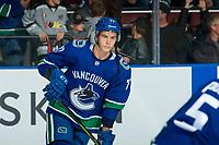 KELOWNA, BC - SEPTEMBER 29: Nikolay Goldobin #77 of the Vancouver Canucks warms up against the Arizona Coyotes at Prospera Place on September 29, 2018 in Kelowna, Canada. (Photo by Marissa Baecker/NHLI via Getty Images)  *** Local Caption *** Nikolay Goldobin;