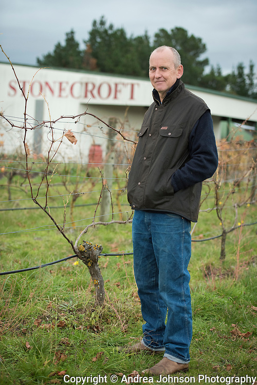 proprietor Dermot McCollum  of Stonecroft,  a boutique winery producing organic wines from its vineyards in Hawke's Bay, New Zealand