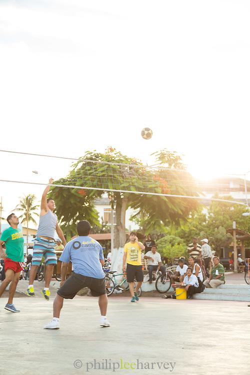 Volleyball game, Puerto Ayora Harbour, Santa Cruz Island, Galapagos Islands, Ecuador, South America