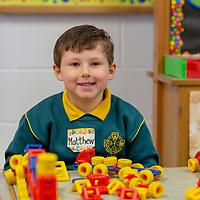 Matthew Ó Longáin smiles for the camera at his first day of school at Gaelscoil Mhíchíl Cíosóg, Inis