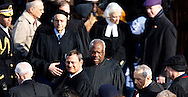 Chief Justice John Roberts and Supreme Court members at the swearing in ceremony during the Inauguration on January 20, 2009.  Photograph:  Dennis Brack
