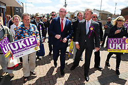 © Licensed to London News Pictures. 07/06/2017<br /> Paul Nuttall on walk about with PETER WHITTLE UKIP Candidate for South Basildon and East Thurrock.<br /> UKIP Leader Paul Nuttall in Corrington,Essex this afternoon on a walkabout on the last day of the election campaign for 2017.<br /> Photo credit: Grant Falvey/LNP