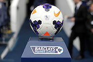 Official match ball on a plinth before k.o Barclays premier league match ,Tottenham Hotspur v Aston Villa at White Hart Lane in Tottenham, London  on Sunday 11th May 2014.<br /> pic by John Patrick Fletcher, Andrew Orchard sports photography.