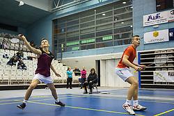 Miha Ivanic of BK Medvode and Andraz Krapez of BK Bit during 57th Slovenian national championship in badminton on Februar  2, 2014 in Medvode, Slovenia. (Photo By Grega Valancic / Sportida)