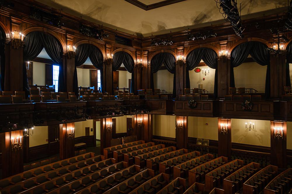 CHARLESTON, SOUTH CAROLINA - CIRCA DECEMBER 2019: Interior of the Dock Street Theatre in the French Quarter of Charleston