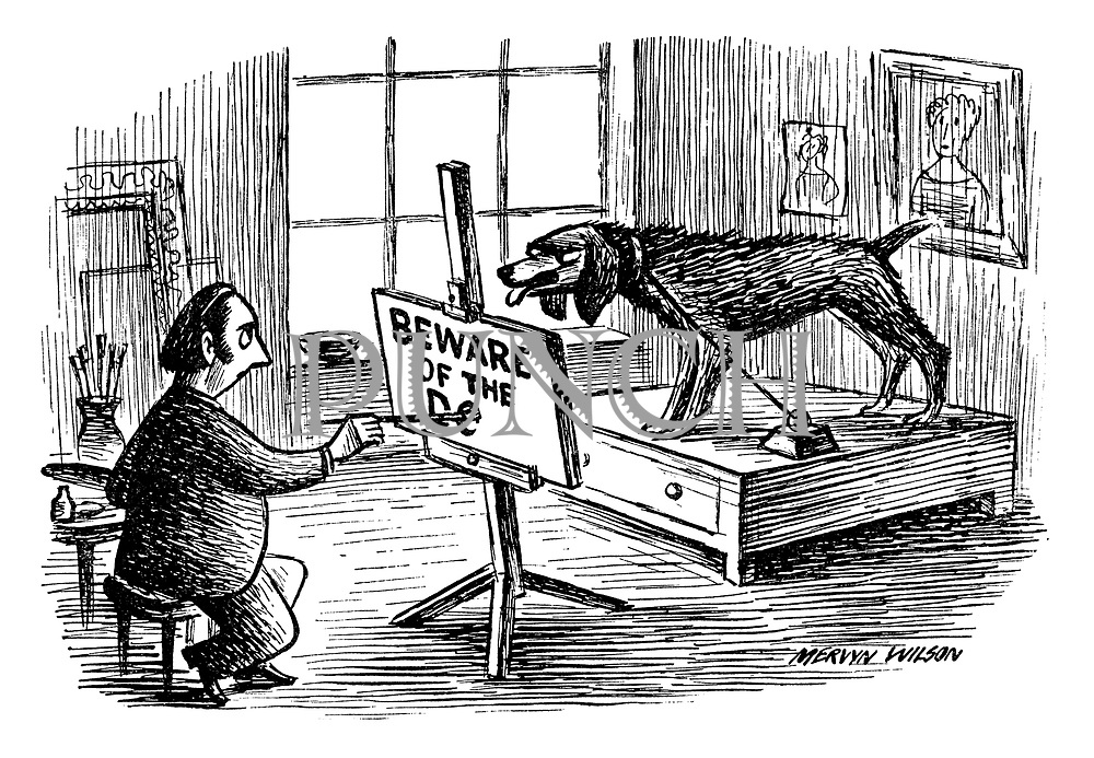 "(An artist uses a growling dog for a model as he paints a ""beware of the dog"" sign)"