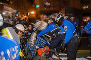 DISRUPT  J20 DEMONSTRATORS PUSHING THROUGH COPS WHO TRIED TO BLOCK THEM FROM THE STREET ALTHOUGH PEDESTRIANS COULD PASS THROUGH ,Washington. DC . 19 January 2017