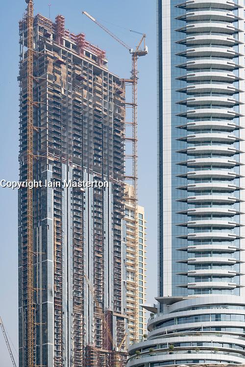 Luxury high rise apartment building under construction in Downtown Dubai , UAE, United Arab Emirates