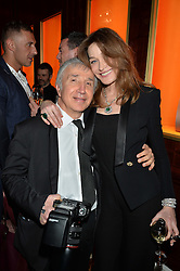 CARLA SARKOZY and JAMES PELTEKIAN at the launch of the new Bulgari flagship store at 168 New Bond Street, London on 14th April 2016.