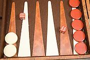 Backgammon board game dice show 6:6