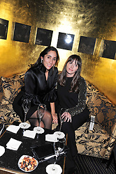 Left to right, ESTEFANIA RENAUD and TANIA FARES at an evening of Cabaret by Nicky Haslam held in the Beaufort Bar, The Ritz, London on 11th December 2011.