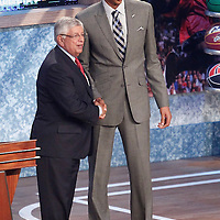 28 June 2012: Anthony Davis, picked up by the New Orleans Hornets, poses with David Stern during the 2012 NBA Draft, at the Prudential Center, Newark, New Jersey.