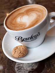 Detail of coffee cup in famous Bewley's cafe on Grafton Street in Dublin Ireland