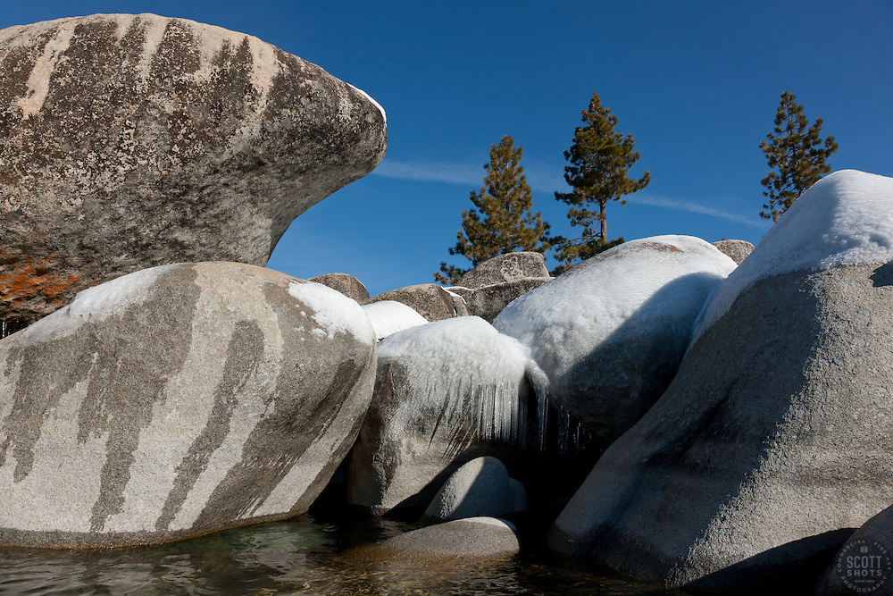 """""""Icicles on Tahoe Boulders 4"""" - These icicle covered boulders were photographed from a kayak in the early morning at Sand Harbor, Lake Tahoe."""