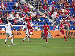 September 22, 2018 - Harrison, New Jersey, United States - Daniel Royer (77) of New York Red Bulls & Marco Delgado (18) of Toronto FC fight for ball during regular MLS game at Red Bull Arena Red Bulls won 2 - 0 (Credit Image: © Lev Radin/Pacific Press via ZUMA Wire)