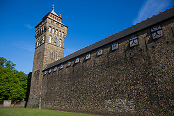 Cardiff, UK. 2nd May, 2017. The clock tower of Cardiff Castle was built by William Burges between 1869-1873. It was constructed from Forest of Dean ashlar stone.