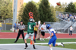 12 October 2013:  Tate Musselman catches a pass from Rob Gallik in the end zone during an NCAA division 3 football game between the North Park vikings and the Illinois Wesleyan Titans in Tucci Stadium on Wilder Field, Bloomington IL