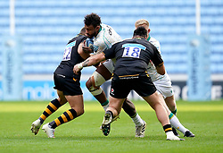 Northampton Saints' Courtney Lawes (centre) is tackled by Wasps' Jimmy Gopperth (left) and Jeffery Toomaga-Allen during the Gallagher Premiership match at the Coventry Building Society Arena, Coventry. Picture date: Sunday October 10, 2021.