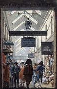 Le Passage des Panoramas', 1807. Covered shopping arcade in Paris, opened 1799. Louis-Philibert Debucourt (1755-1832) French painter. Gouache.
