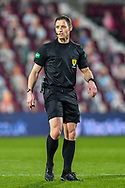 Referee Steven McLean during the SPFL Championship match between Heart of Midlothian FC and Alloa Athletic FC at Tynecastle Park, Edinburgh, Scotland on 9 April 2021.