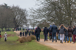© Licensed to London News Pictures. 31/01/2021. London, UK. Walkers brave the cold and rain in a busy Richmond Park South West London this afternoon as the Met Office issue further weather warnings for snow, rain and flooding for large parts of the UK. The Met office has issued weather warnings for much of the UK this weekend for snow, torrential rain and flooding with disruption to travel as the stormy weather continues. Photo credit: Alex Lentati/LNP