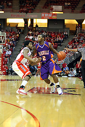 12 January 2008: Dom Johnson guards Kavon Lacey as he approaches the 3 point arc during a game in which  the Purple Aces of the University of Evansville lost to  the Redbirds of Illinois State on Doug Collins Court at Redbird Arena in Normal Illinois by a score of 74-66.