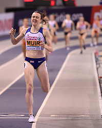 Great Britain's Laura Muir wins the gold medal in the Women's 1500m final during day three of the European Indoor Athletics Championships at the Emirates Arena, Glasgow.