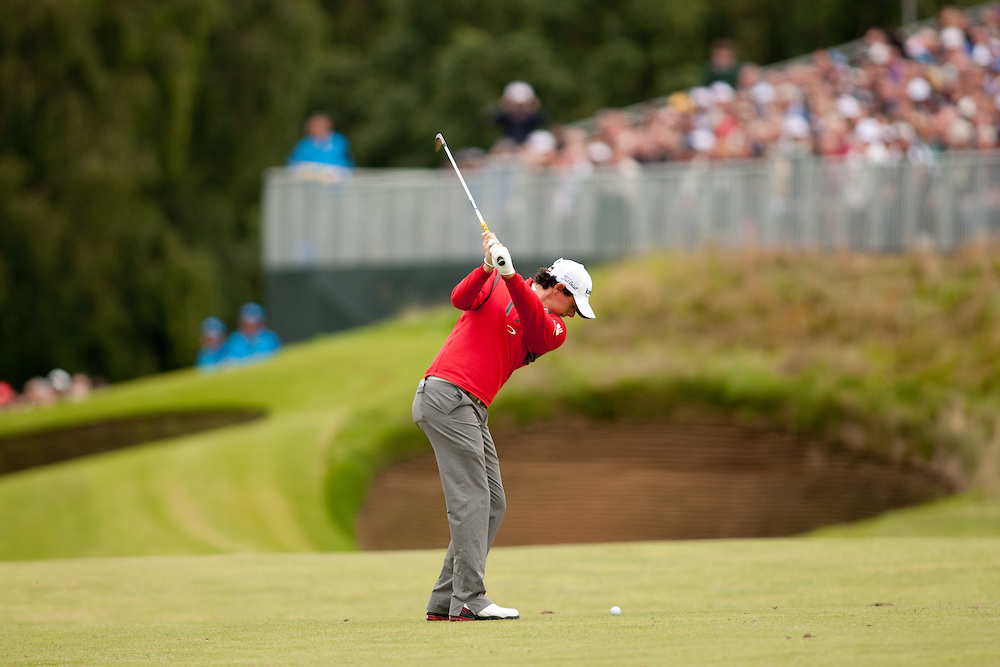 LYTHAM ST. ANNES, ENGLAND - JULY 20:  Rory McIlroy of Northern Ireland plays an approach shot during the second round of the 141st Open Championship at Royal Lytham St Annes Golf Club in in Lytham St. Annes, England on July 20, 2012. (Photograph ©2012 Darren Carroll) *** Local Caption *** Rory McIlroy