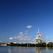 Space shuttle Discovery sits on the pad before it is scrubbed for launch after cracks in the external tanks are discovered at the Kennedy Space Center in Cape Canaveral, Fla. on November 3, 2010. (AP Photo/Alex Menendez)