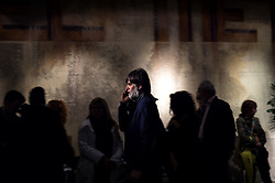 October 14, 2016 - Milan, Italy - Jacopo Fo, son of Italian artist Dario Fo stands near the coffin of his father in the burial chamber of Teatro Piccolo in Milan on October 14, 2016. Dario Fo, 90, an Italian actor-playwright, comedian, singer, theatre director, stage designer, songwriter, painter and political campaigner, died on October 13, 2016. (Credit Image: © Fabrizio Di Nucci/NurPhoto via ZUMA Press)