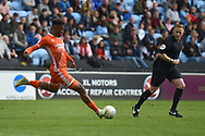 Shrewsbury Town striker (on loan from Stoke City) Tyrese Campbell (11) takes a shot at goal during the EFL Sky Bet League 1 match between Coventry City and Shrewsbury Town at the Ricoh Arena, Coventry, England on 28 April 2019.