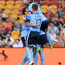 BRISBANE, AUSTRALIA - NOVEMBER 19: Sydney players celebrate scoring a goal during the round 7 Hyundai A-League match between the Brisbane Roar and Sydney FC at Suncorp Stadium on November 19, 2016 in Brisbane, Australia. (Photo by Patrick Kearney/Brisbane Roar)