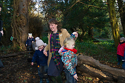Pictured: Marree Todd was grateful for support from Orlana Walkers (4) and Daphne Shaw (4)<br /> Minister for Early Years and Childcare, Maree Todd today met a kindergarten class taking part outdoor learning at Luariston Castle Edinburgh.<br /> <br /> <br /> Ger Harley | EEm 22 February 2018