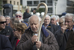 April 4, 2017 - Athens, Greece - Retirees demonstrate in Athens, saying No More to austerity measures in Greece demanding a stopage at the cuts in pension and benefits. (Credit Image: © George Panagakis/Pacific Press via ZUMA Wire)