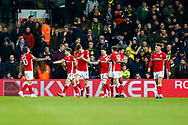 Barnsley players celebrate during the EFL Sky Bet Championship match between Norwich City and Barnsley at Carrow Road, Norwich, England on 18 November 2017. Photo by Phil Chaplin.