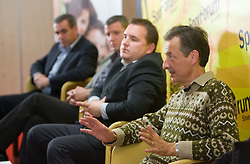 """Miha Zibrat na okrogli mizi na temo """"Slovenska kosarka - le kos do svetovnega vrha?"""" v organizaciji SportForum Slovenija, 19. oktober 2009, Austria Trend Hotel, Ljubljana, Slovenija. (Photo by Vid Ponikvar / Sportida)"""