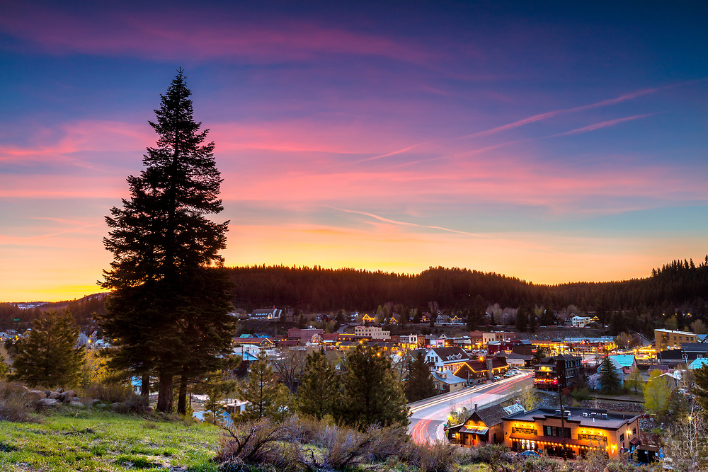 """""""Downtown Truckee 65"""" Photograph of Historic Downtown Truckee shot at sunset from near the Cottonwood restaurant."""