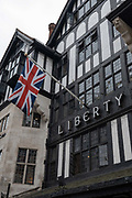 A large Union Jack flag hangs outside Liberty shop on the 16th September 2019 in London in the United Kingdom.