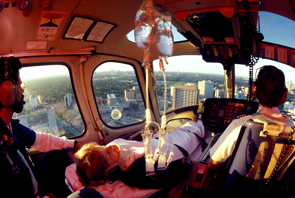 Stock photo of a patient being transported by lifeflight.