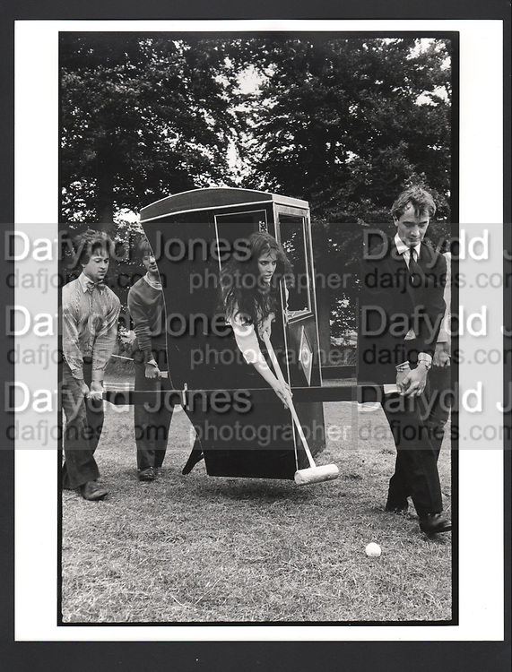 Nigella Lawson playing croquet at a Dangerous Sports Club Tea party. Given at the Gloucestershire home of the Dutch Ambassador Robbert Fack. 22 August 1981.Exhibition in a Box