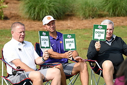 Notre Dame head football coach Brian Kelly, Clemson  head football coach Dabo Swinney and North Carolina head football coach Mack Brown during the Chick-fil-A Peach Bowl Challenge Closest to the Pin Skills Competition at the Ritz Carlton Reynolds, Lake Oconee, on Monday, April 29, 2019, in Greensboro, GA. (Dale Zanine via Abell Images for Chick-fil-A Peach Bowl Challenge)
